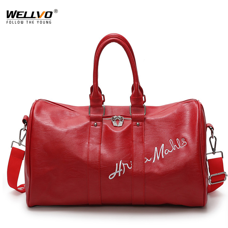 Fashion PU Leather Luggage Bag Women Men Letters Embroidery Travel Duffle Carry On Handbags Female Large Tote Bags Red XA198WC