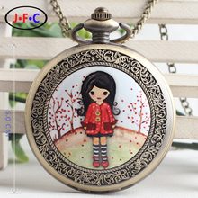 Free shipping Children's Day gift table girl cute Meng Quartz Pocket Watch with chain and flip the kids table DS016