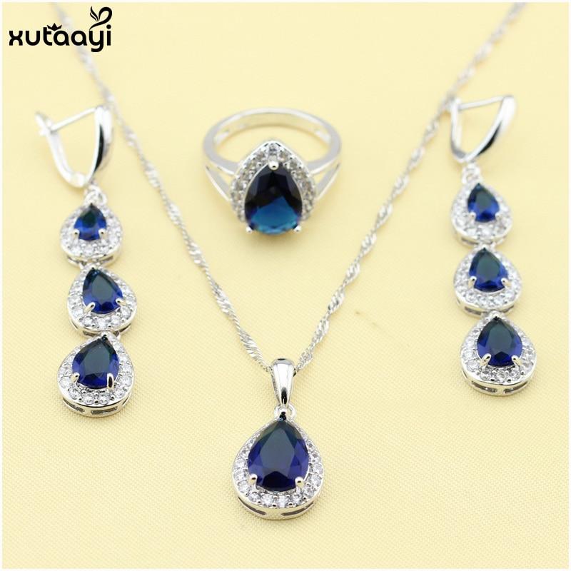 XUTAAYI Ən yüksək keyfiyyətli 925 gümüş zərgərlik, mavi - Moda zərgərlik - Fotoqrafiya 2
