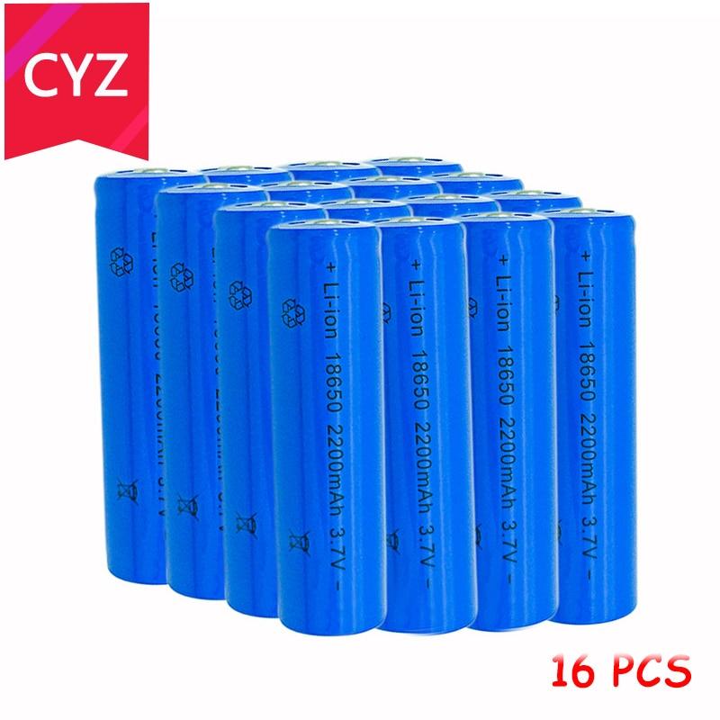 16PCS 18650 3.7V 2200mAh(Not AA) Battery Batteries Lithium Li Ion Rechargeable Large Capacity Flashlight New Power Free Shipping
