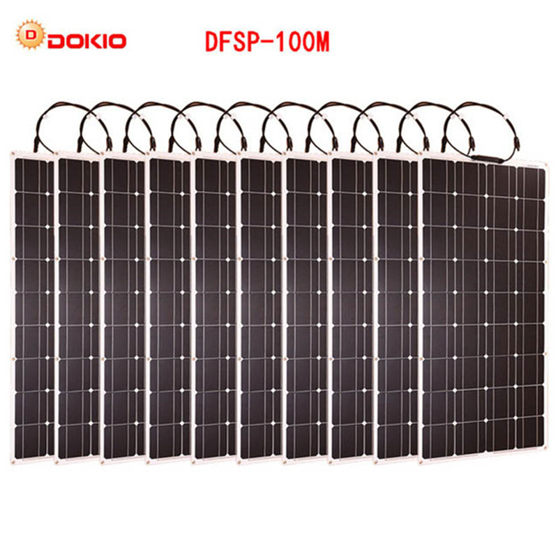 Dokio Brand 10pcs Flexible Solar Panel 100W Monocrystalline High Quality Flexible Panel Solar 1000w motorhome/camping/Boat/Car