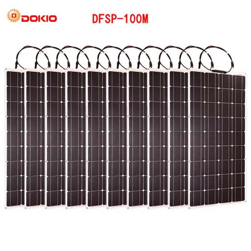 Dokio Marke 10 stücke Flexible Solar Panel 100 W Monokristalline Hohe Qualität Flexible Panel Solar 100 0 watt wohnmobil/ camping/Boot/Auto