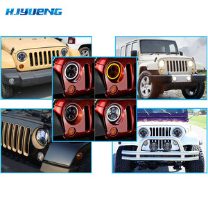 "Image 5 - Para Land Rover Defender 7 ""Polegada 50 w LED Faróis Alta Low Beam Angel Eye DRL Âmbar Turn Signal para Jeep Wrangler JK Luzes Led"