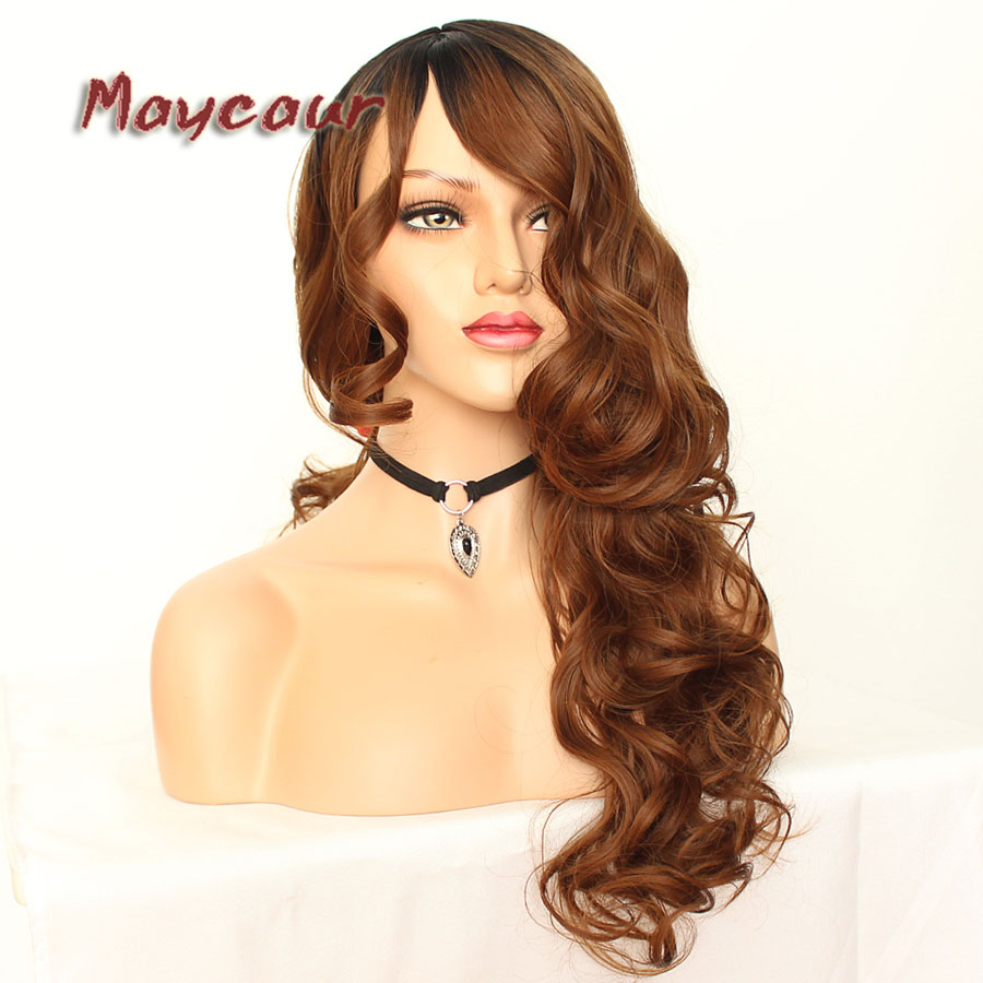 Maycaur Glueless Black Long Wavy Wig with Side Bangs Synthetic Hair Wigs for Women Heat Resistant Fiber Hair Wigs (9)