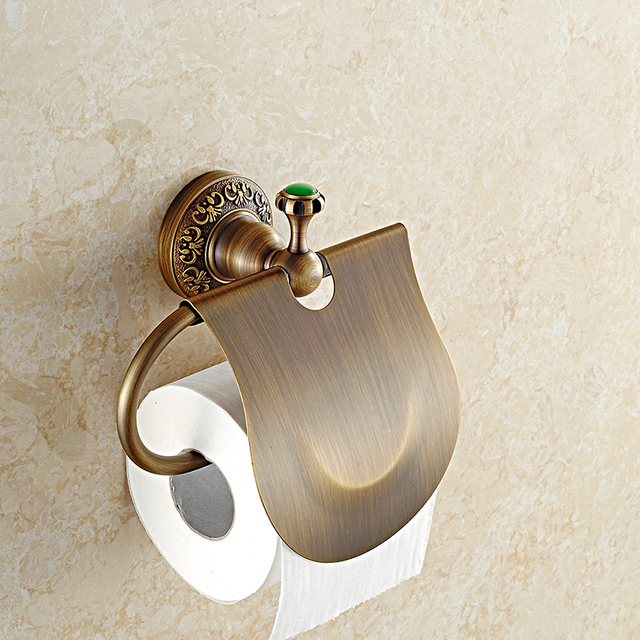 Antique European Solid Brass Brushed Green Stone Paper Holder ...
