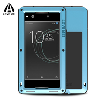 Metal Armor Case FOR SONY XA1 Case Shockproof Gorilla Glass Luxury Phone Metal Cover Aluminum Armor