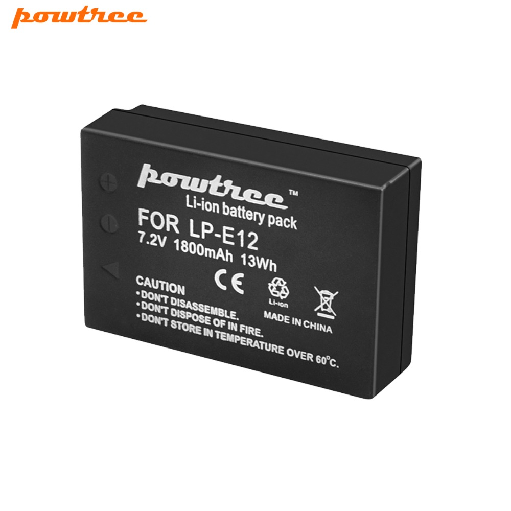 1Pcs 1800mAh LP-E12 LPE12 LP E12 Camera Batteries For Canon EOS 100D Kiss X7 Rebel SL1 EOS M10 DSLR Battery 2pack lp e12 lp e12 lpe12 high capacity replacement batteries 1800mah for canon rebel sl1 eos m eos m2 eos m10 mirrorless