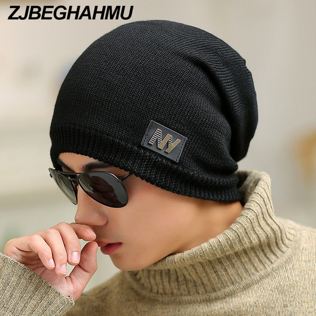 dd1bf34684d Male Cap Mens Beanie Caps Boys Winter Hats For Man Knitt Solid Favourite Knit  ski hats Cap Hip Hop Casual Male ski Bonnet