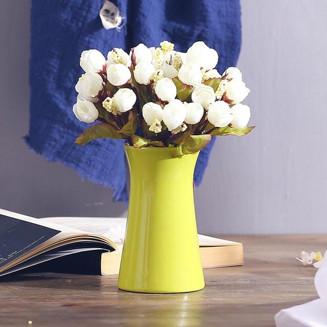 Mini Vase Ceramic Office Restaurant Desktop Hotel Decorative Flower