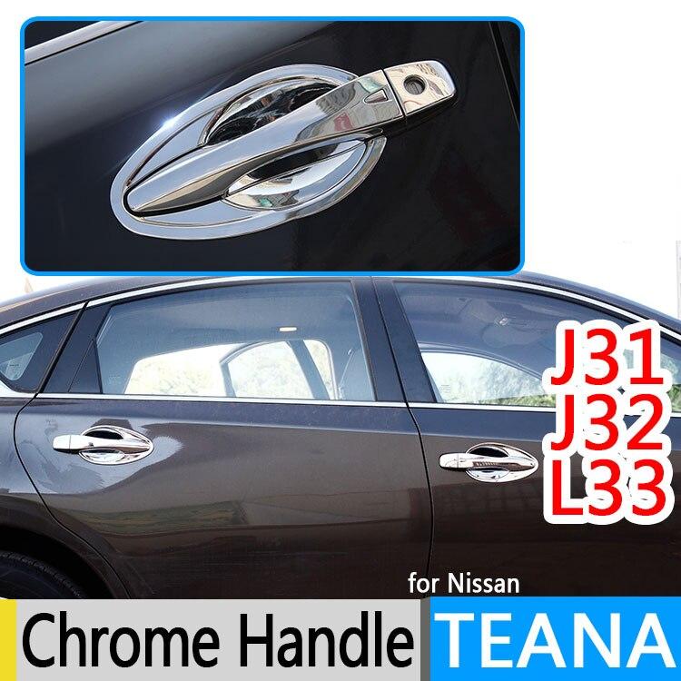 Prix pour Pour Nissan Teana J32 J31 L33 Altima Luxueux Chrome Poignée De Porte Couvre 2008 2012 2013 2014 2015 Accessoires Autocollants De Voiture style
