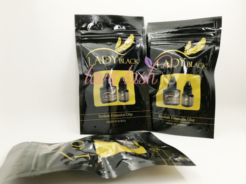 Free shipping fast dry lady black glue With Sealed Bag for eyelash extensions 10 bottles lot