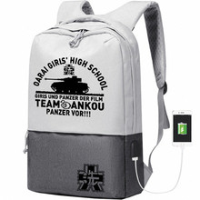 GIRLS und PANZER Women Backpack Anime Travel Bagpack Nylon School Bags Bookbag USB Charging Laptop Backpack College Bag Rugzak
