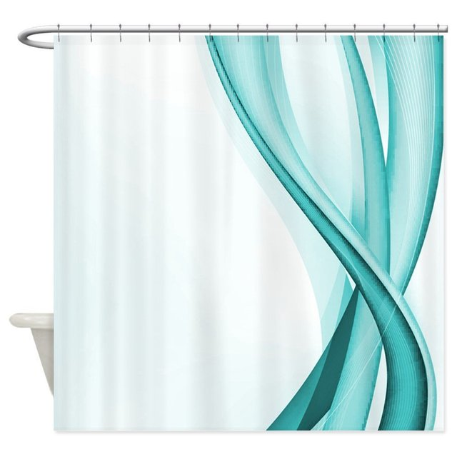 Contemporary Turquoise Streamers Decorative Fabric Shower Curtain Bath Products Bathroom Decor With Hooks Waterproof