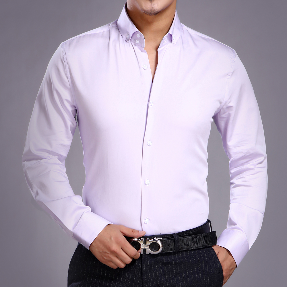 J.DeL'or új érkezési férfiak pamut díszes / calssical ruha ing könnyű lila hosszú ujjú vékony illeszkedés magas színvonalú Euro.design