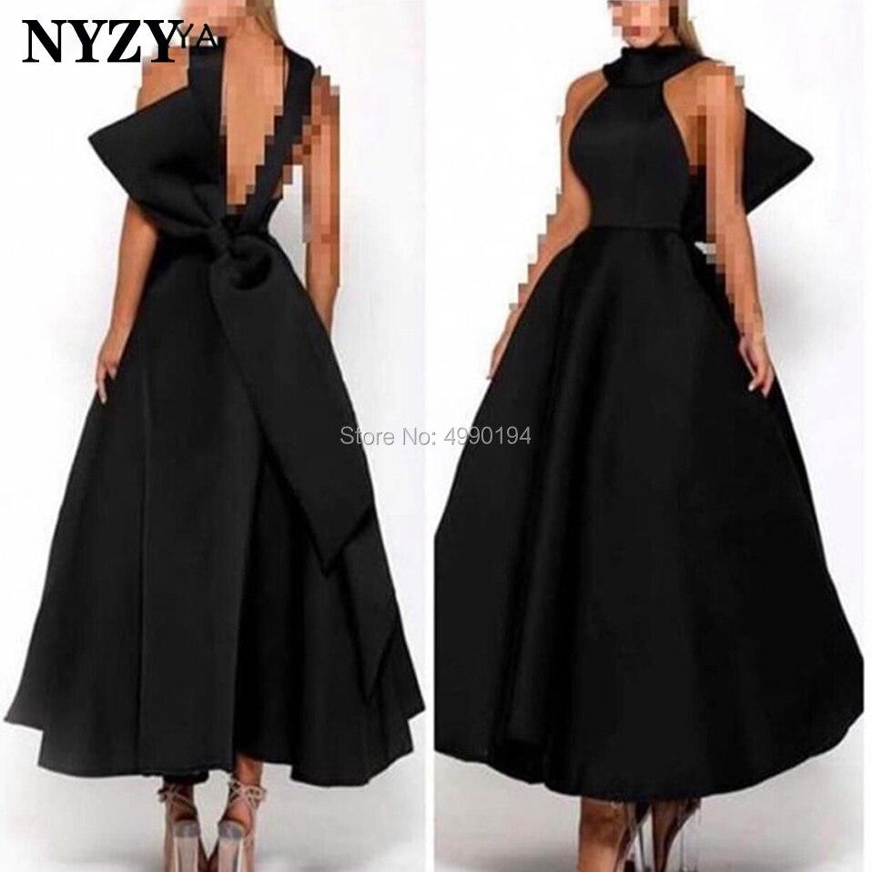 Elegant Arabic Evening Dress 2019 NYZY E168 Black Satin Ankle Length Backless Bow Party Gown Robe Soiree Dubai Vestido Formatura