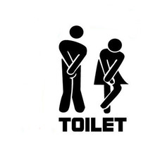 11*19 cm Funny Toilet Entrance Sign Decal Vinyl Sticker For Shop Office Home Cafe Hotel Black/White
