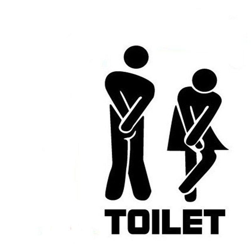 11*19 cm drôle toilette entrée signe décalcomanie vinyle autocollant pour magasin bureau maison café hôtel noir/blanc