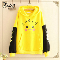 Women Pokemon For Pikachu Print Hoodies Anime Kawaii Girls Cute Long Ears Oversized Hooded Sweatshirts Autumn Pullovers 8446