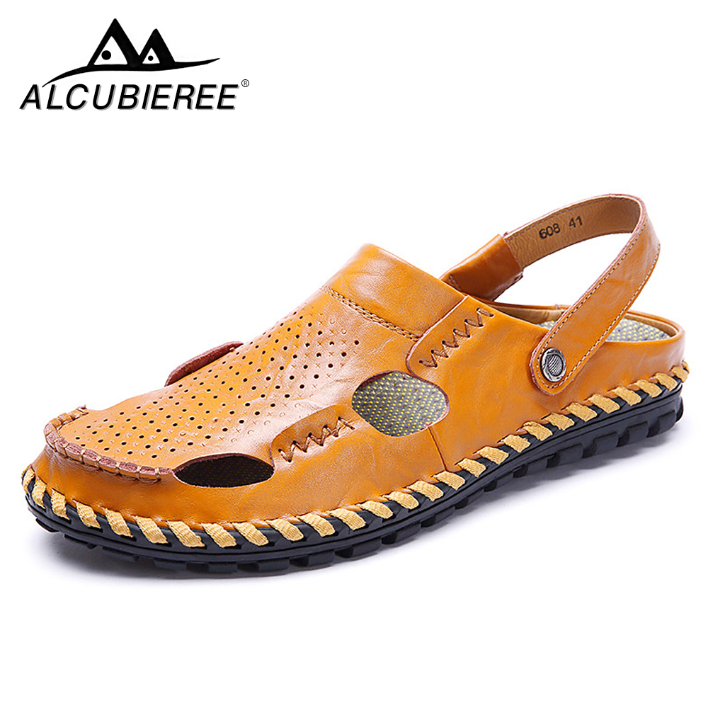 Brand Summer Beach Shoes Men Sandals Leather Flip Flops Outdoor Slippers Sandal Casual Breathable High Quality Big Size 2018 New