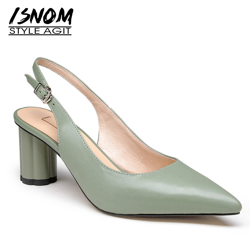 ISNOM Slingback Sandals Women Pointed Toe Footwear Genuine Leather Sandals Shoes Round High Heels Shoes Woman