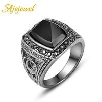 Free Shipping 8 11 Fashion Jewelry 2013 18k White Gold Plated Ring Man With Black Stone