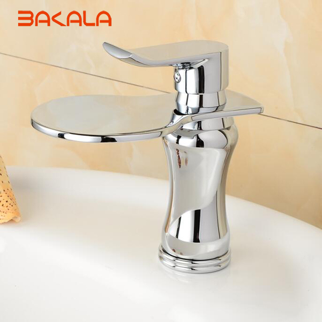 BAKALA Chrome Waterfall bathroom faucet Brass hot and cold water ...