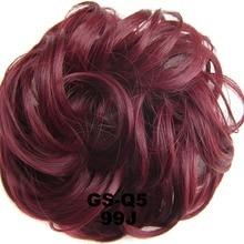 Женская обувь Упругая волна вьющиеся синтетические шиньоны резинка для волос обертка для пучок волос аксессуары для волос Q5, а так же 30 г, 10 шт./лот