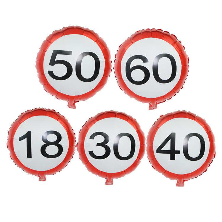 18 Polegada Rodada Balões Número Da Folha Branco Cor Vermelha 18/30/40/50/60 Dígitos de Hélio decorações de casamento Aniversário da Fonte Do Partido