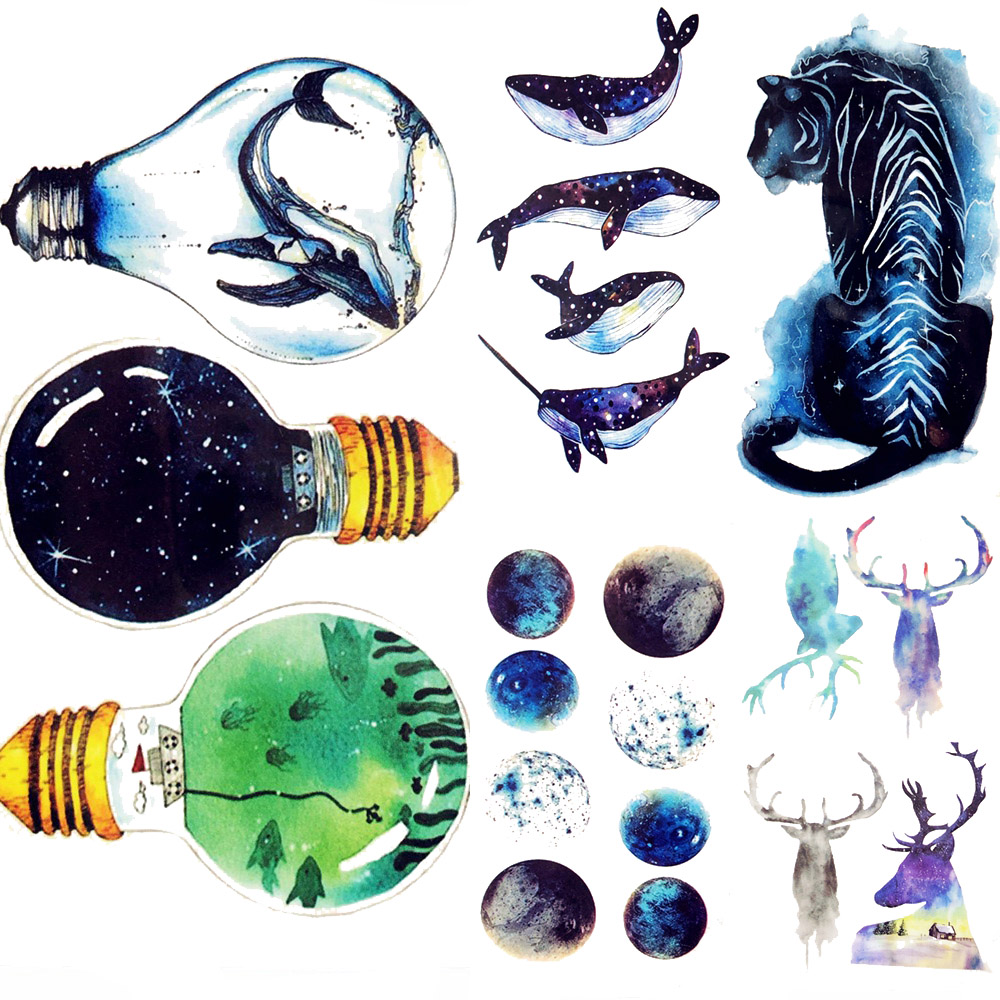 Colorful Bulb White Whale Temporary Tattoo Women Hand Flash Ocean Galaxy Tattoo Stickers Men Body Arm Art Waterproof Tatto Ankle deluxe how luxury lost its