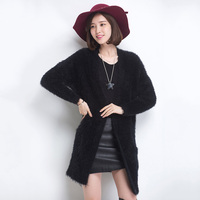 2017 New Women S Long Style Plush Cardigan Sweater Women Large Size Knitted Cardigan Fashion Elegant