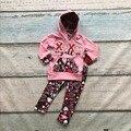 Ropa niñas bebés v-day XOXO sudadera con capucha trajes con rojo amor pant niños boutique de ropa de los niños del corazón del amor pant