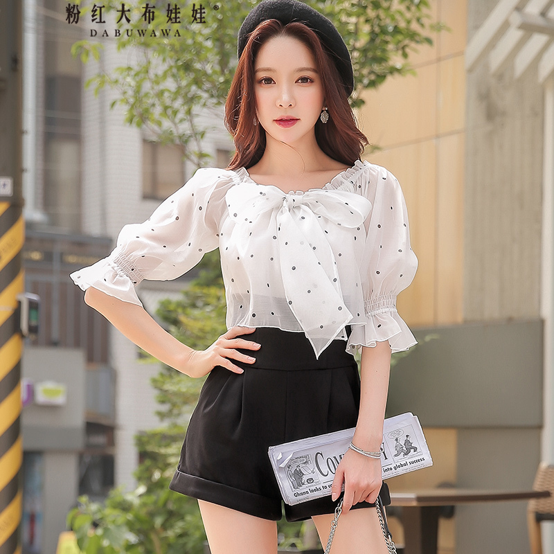 original 2018 brand overalls for women spring autumn black and white dot printed bow off the shoulder jumpsuits women wholesale