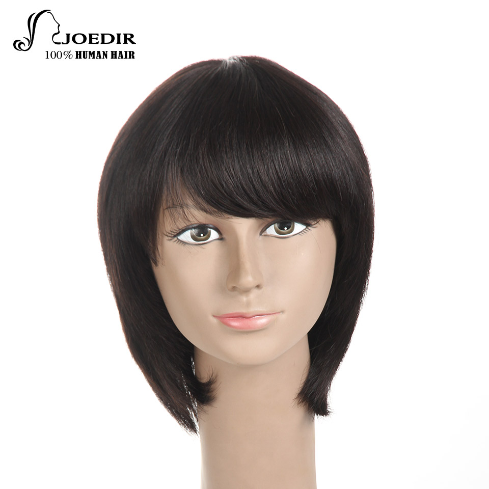 Joedir Human Hair Wigs Brazilian Remy Straight Human Hair Wigs Pixie Cut Machine Made Short Bob Wigs For Women Free Shipping