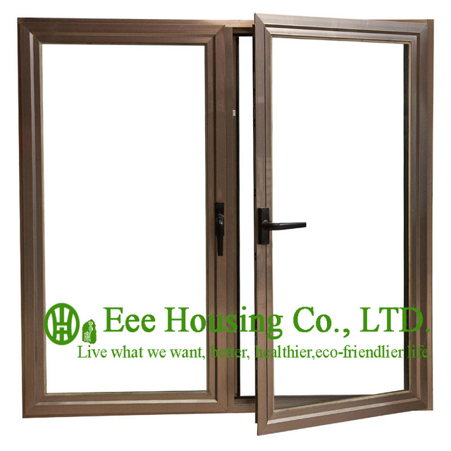Anodized Aluminum Casement Windows With Wood Color Aluminum Window Frame,  Latest Design Aluminum Casement Window