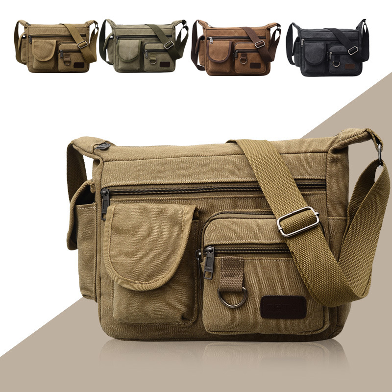 Canvas Shoulder Bags for Men Solid Colors Messenger Bags Strong Fabric Bags Vintage Style Crossbody Bags 2018 Multiple Pockets
