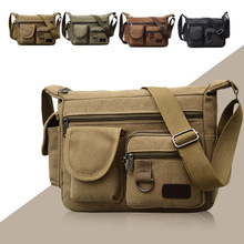 Canvas Shoulder Bags for Men Solid Colors Messenger