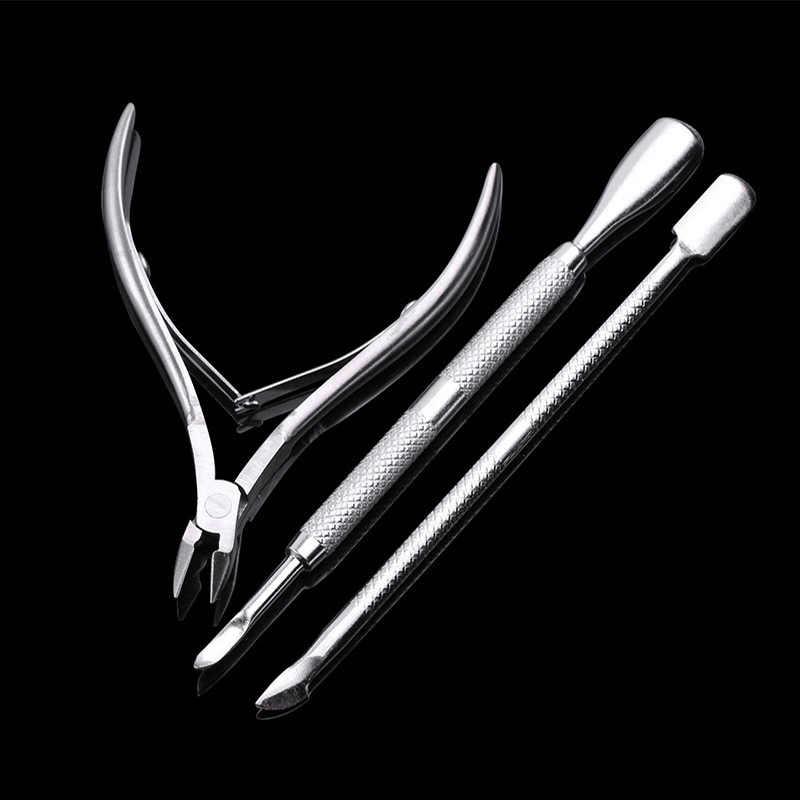 3Pcs Cuticle Schaar Pusher Lepel Dead Skin Remover Cutter Clipper Nipper Trimmer Manicure Nail Art Tool