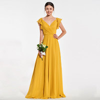 Tanpell yellow bridesmaid dress v neck backless cap sleeves floor length gown women graduation party formal bridesmaid dresses