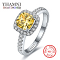 92% OFF!!! Fine Jewelry 100% Solid Silver Rings For Women Luxury 3 Carat Yellow CZ Diamond Engagement Rings Wholesale BKJZ032