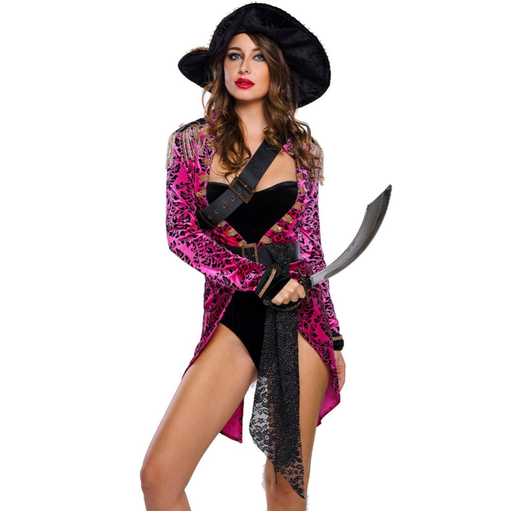 New Halloween Stage Cosplay Costumes For Women Sexy Ferocious Viking Sailor Costume Sets 6 Piece
