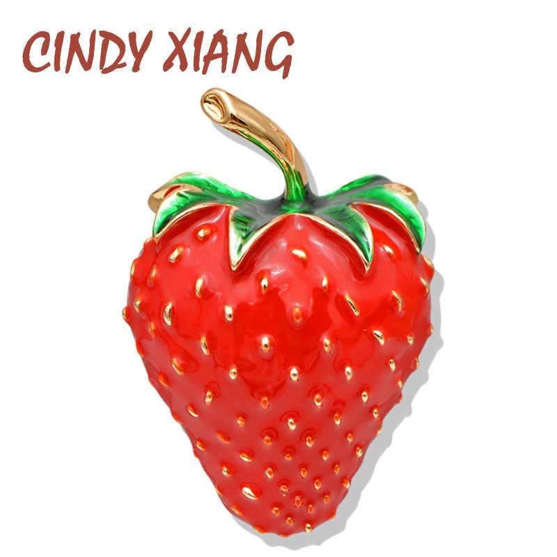 Cindy xiang esmalte vermelho cor morango broches para as mulheres verão estilo fruta acessórios chapéu saco jóias pinos de casamento bom presente