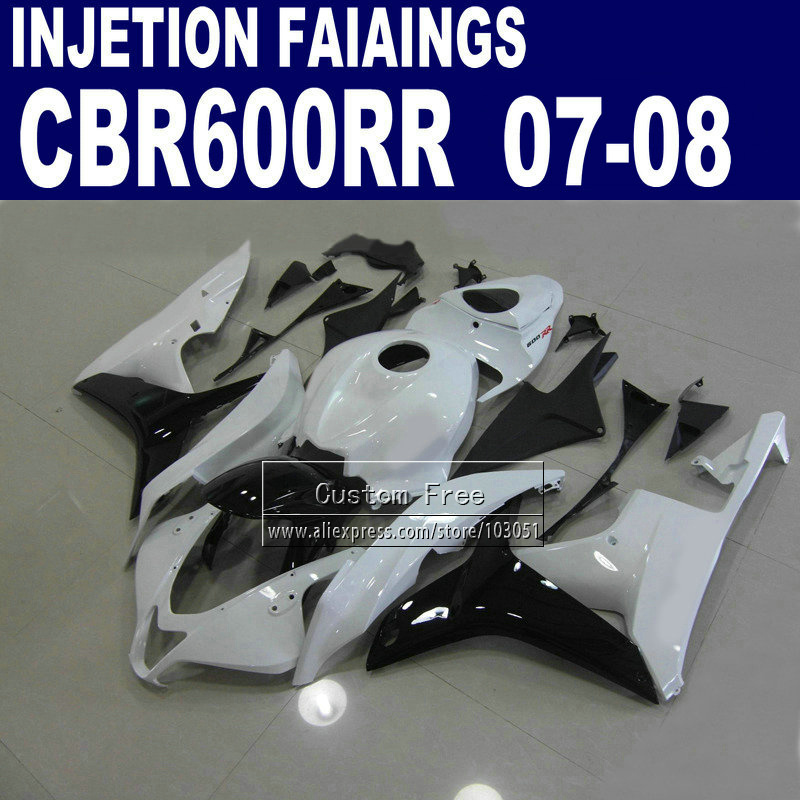 Injection body fairings kits for Honda CBR 600 RR F5 fairing set 07 08 CBR 600RR CBR600RR 2007 2008 white black motorcycle parts