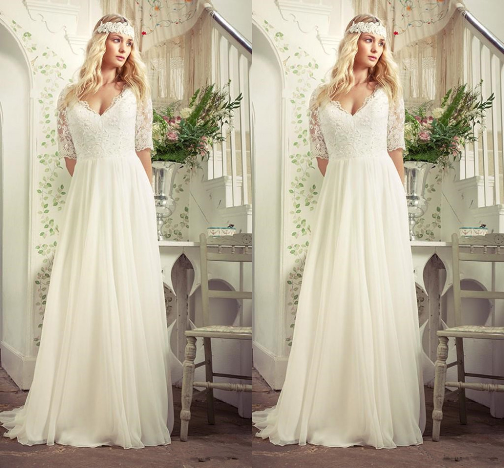 Real Simple Weddings 2017: New Hot Selling 2017 Lace Vintage Simple Half Sleeve Sexy
