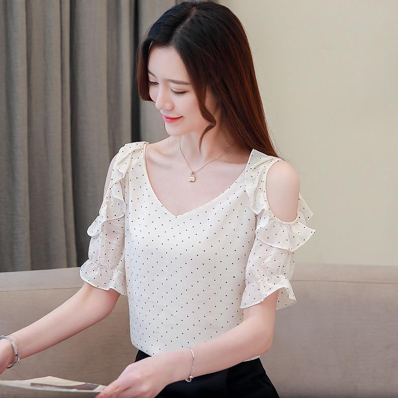 Summer Casual Chiffon Women Blouses Polka Dot Short Sleeve Women Shirts Plus Size XXL Blusas Femininas Elegante Ladies Tops in Blouses amp Shirts from Women 39 s Clothing