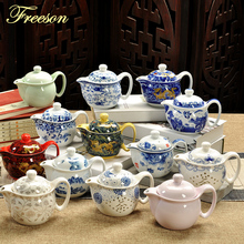 цена на Acient Chinese Kung Fu Porcelain Teapot Infuser Handmade Dragon Flower Paint Puer Tea Pot Samovar Ceramic Tea Ceremony Gift