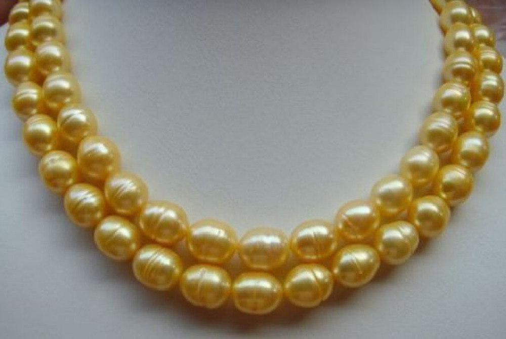 free shipping charming 2 ROWS 11-13mm south sea golden pearl necklace 17inch . yellow цена