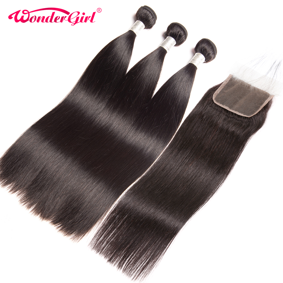 Malaysian Straight Hair 3 Bundles With Closure 4 Pcs/Lot 100% Human Hair Bundles With Closure Wonder girl Remy Hair Extension
