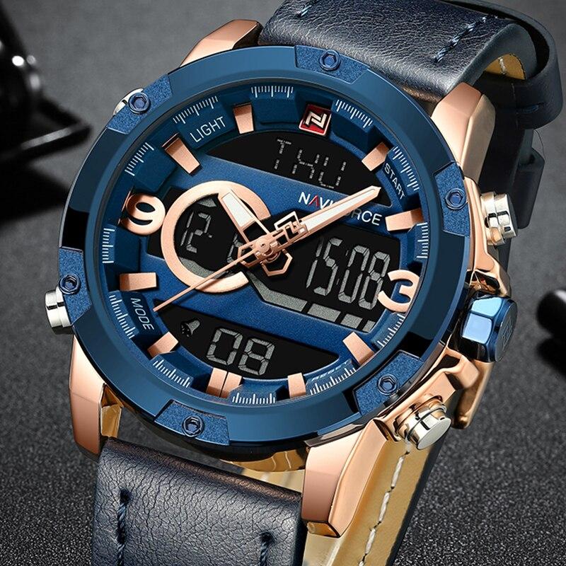 7ca56e63141 NAVIFORCE Marca de Luxo dos homens Relógio Analógico Digital de Pulso de Couro  Sports Relógios Homens Do Exército Militar Relógio de Quartzo Relogio ...