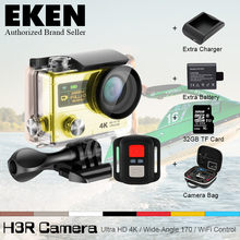 4 К ЭКЕН H3R H3 Действий камеры Ultra HD 4 К Видео Камера Спорта 170D Широкоугольный Двойной Экран Дистанционного Управления перейти водонепроницаемый pro Yi cam