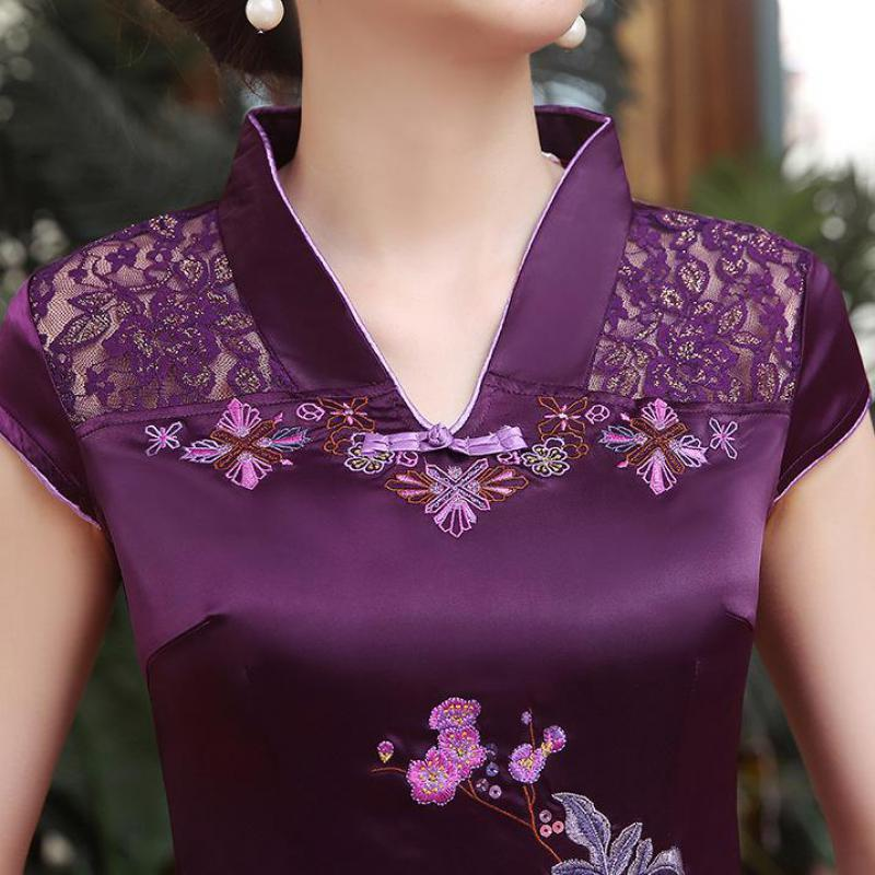 Elegante bordado flor Mini Qipao 2019 verano encaje Sexy Cheongsam púrpura Vintage baja División vestido chino Oversize S-6XL - 5